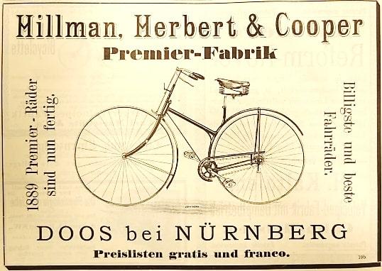 Werbeanzeige von Hillman, Herbert & Cooper aus dem Jahr 1889