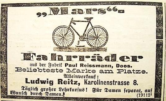 Werbeanzeige der Fahrrad-Handlung Ludwig Reitz für Mars-Fahrräder von 1897