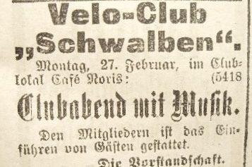 Anzeige des Velo-Club Schwalben von 1899