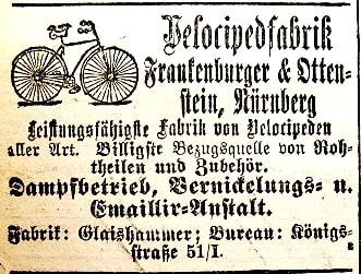 Werbeanzeige der Velocipedfabrik Frankenburger & Ottenstein von 1887