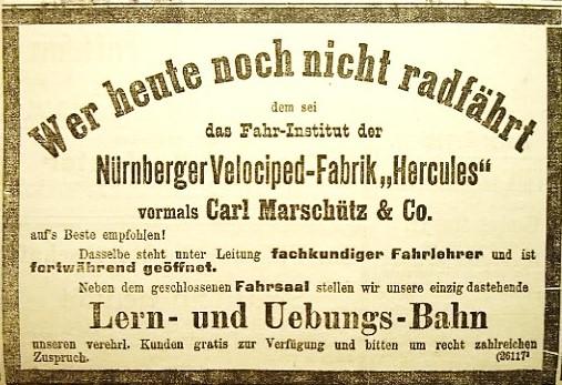 EWerbeanzeige der Nürnberger Velocipedfabrik Hercules zum Hercules-Velodrom, 1897