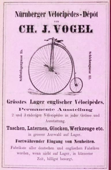 "Webeanzeige des ""Nürnberger Vélocipèdes-Depot"" von Ch. J. Vogel, 1884"