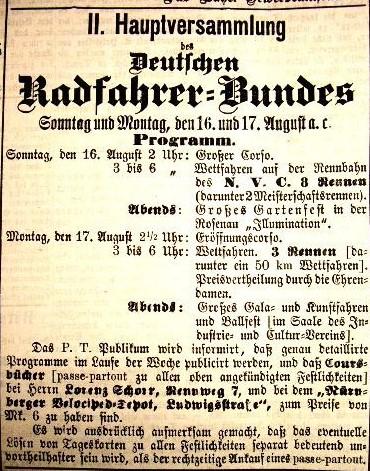 Anzeige des Deutschen Radfahrer-Bundes von 1885