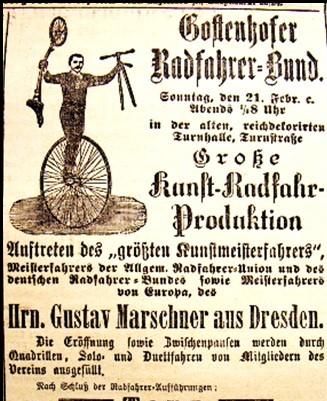 Anzeige des Gostenhofer Radfahrer-Bundes von 1890