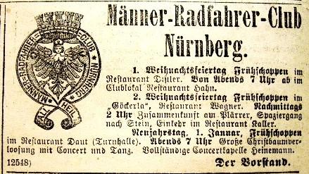 Anzeige des Männer-Radfahrer-Clubs Nürnberg von 1893