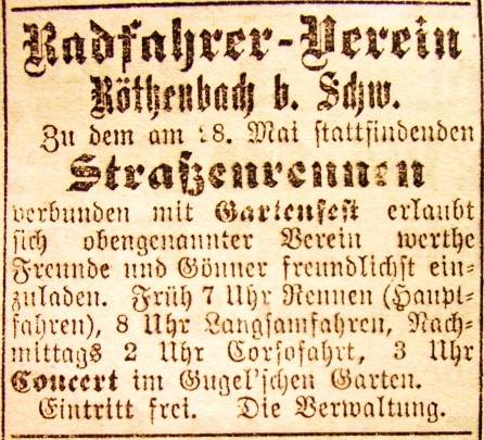 Anzeige des Radfahrer-Vereins Röthenbach bei Schweinau