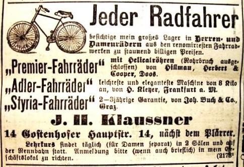 Werbeanzeige des Fahrrad-Händlers J. H. Klaussner, Fahrrad-Händler in Nürnberg, 1896