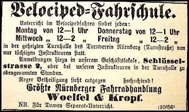 Anzeige der Nürnberger Fahrrad-Handlung Woelfel & Kropf, 1892