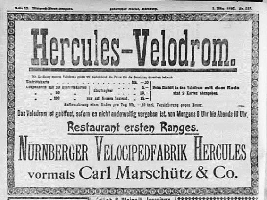 Anzeige zur Eröffnung des Hercules-Velodroms