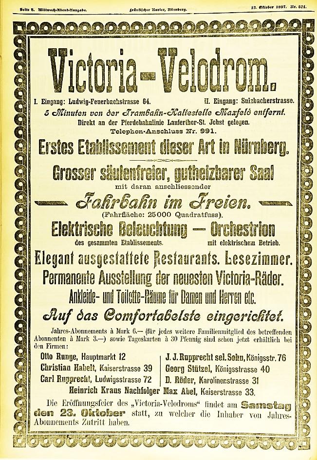 Anzeige zur Eröffnung des Victoria-Velodroms im Oktober 897