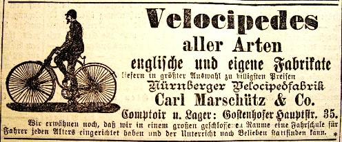 Werbeanzeige der Nürnberger Velocipedfabrik Carl Marschütz & Co. von 1887
