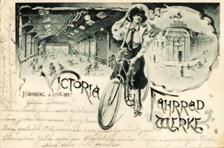 Ansichtskarte des Victoria-Velodroms von 1899 mit Innen- und Außenansicht