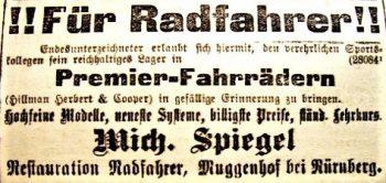Werbeanzeige von Michael Spiegel für Premier-Fahrräder (1893)