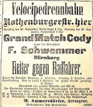 Anzeige Match Cody gegen Schwemmer (1894)