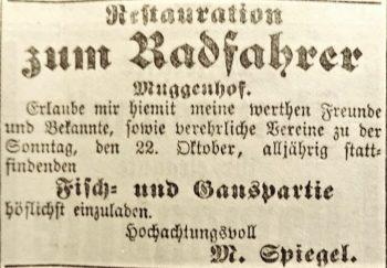 Werbeanzeige Restauration zum Radfahrer (1893)