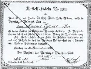 Anteil-Schein für den Bau der 1. Nürnberger Radrennbahn 1884