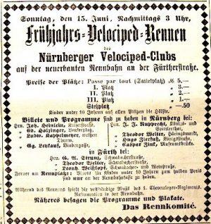 Anzeige zur den Eröffnungsrennen auf der 1. Nürnberger Radrennbahn (1884)