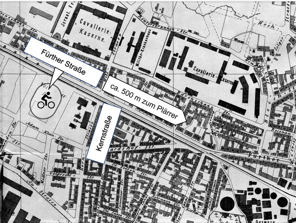 Lage der 1. Nürnberger Radrennbahn an der Fürther Straße