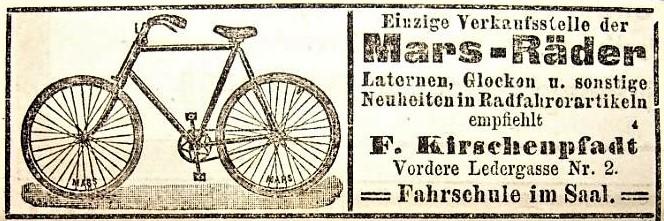 Anzeige von Fritz Kirschenpfadt im Fränkischen Kurier vom 02.02.1898