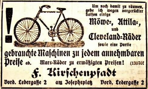 Anzeige von Fritz Kirschenpfadt im Fränkischen Kurier vom 07.07.1901