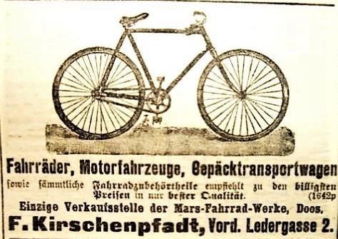Anzeige von Fritz Kirschenpfadt im Fränkischen Kurier vom 10.05.1899
