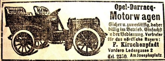 Anzeige von Fritz Kirschenpfadt im Fränkischen Kurier vom 15.03.1903
