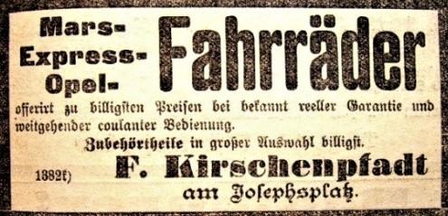 Anzeige von Fritz Kirschenpfadt im Fränkischen Kurier vom 20.04.1902