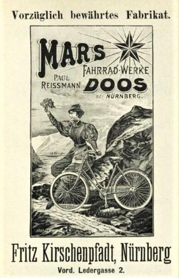 Anzeige von Fritz Kirschenpfadt aus: Praktisches Handbüchlein für die Radfahrer und Radfahrerinnen in Nürnberg und Fürth und solche, die es werden wollen (Nürnberg 1899)