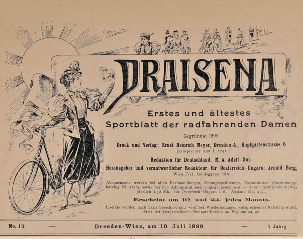 Draisena - Erstes und ältestes Sportblatt der radfahrenden Damen