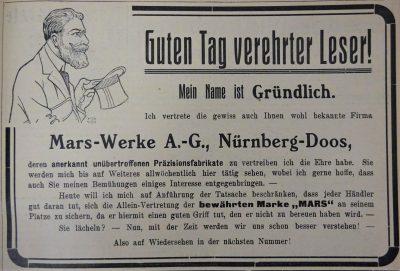 Werbung der Mars-Fahrrad-Werke von 1909 (1)