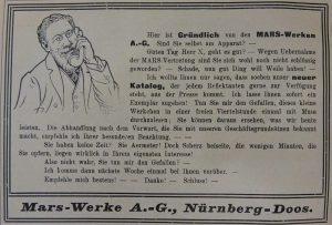 Werbung der Mars-Fahrradwerke von 1909 (3)