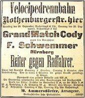 Plakat Match Cody - Schwemmer, Nbg im Sept. 1894
