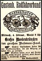 Gostenhofer Radfahrer-Bund, Einladung zum Maskenkränzchen 1891