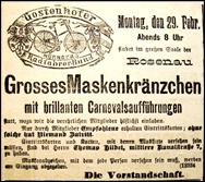 Gostenhofer Radfahrer-Bund, Einladung zum Maskenkränzchen 1892
