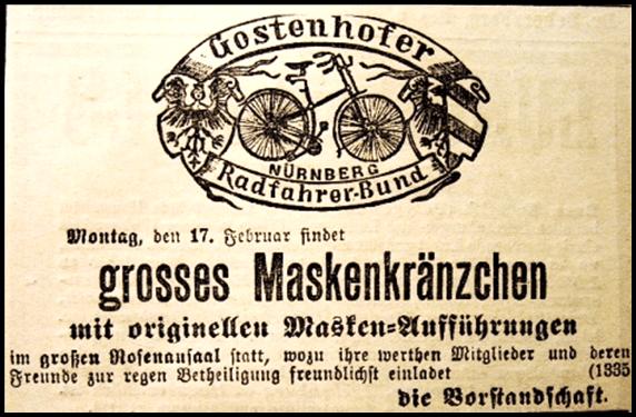 Gostenhofer Radfahrer-Bund, Einladung zum Maskenkränzchen 1896