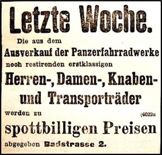 Anzeige Panzer vom Mai 1901