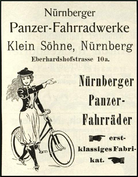 Werbeanzeige der Panzer-Fahrradwerke, Nürnberg aus dem Jahr 1899